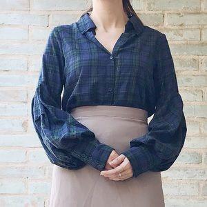 Greysn Plaid Top Poof Sleeve Button Down Shirt